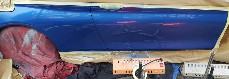Blue bmw lease car scratch + dent repair